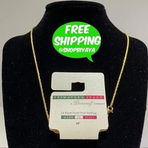 Italy 24K Gold Ovr 925 SS Beyonce Chain Necklace